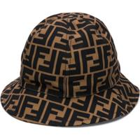 Fendi Kids Ff Logo Bucket Hat - Marrom