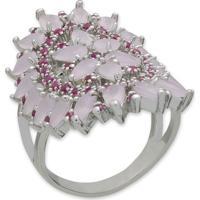 Anel Grande Cravejado Com Zircônias Rosa Claro E Banho Em Prata Aro 21