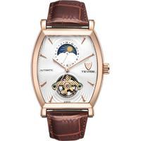 Relógio Tevise 8383D Masculino Automático Pulseira De Couro Marrom - Branco E Dourado