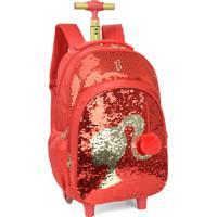 Mochila De Rodinha Com Alça Paetês Magicos Barbie Luxcel 51332 Vermelha