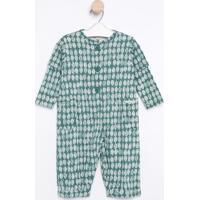 Macacão Com Botões & Bolsos - Verde & Brancogreen