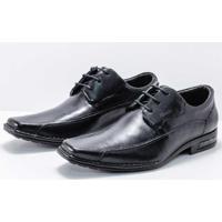 Sapato Couro Ferracini Florença Amarração Conforto Masculino - Masculino-Preto