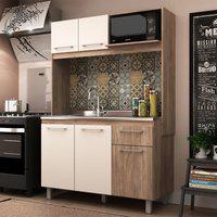 Cozinha Compacta Com Nicho Forno Off White E Carvalho Lilies