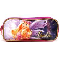 Estojo Sestini 3 Compartimentos Barbie Dreamtopia Roxo/Rosa