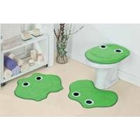 Jogo De Banheiro Infantil Para Meninos Formatos Sapinho Em Pelúcia Verde Pistache Para Decoração De