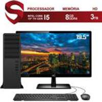 Computador Completo Pc Intel 10A Geracao Core I5 10400 4.3Ghz 8Gb Ddr4 Hd 3Tb Monitor 19.5Apos; Hdmi Audio 7.1 Canais Skill Force