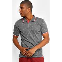 Camisa Polo Broken Rules Malha Mini Print Folhagem Masculina - Masculino-Chumbo+Vermelho