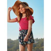 Conjunto Blusa Com Shorts Infantil Rosa