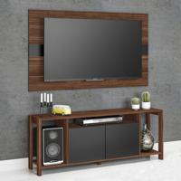 Rack Com Painel Para Tv Até 55 Polegadas Az1017 Nogal/Preto - Tecno Mobili