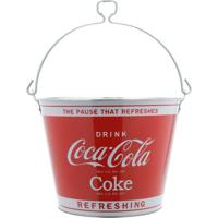 Balde De Gelo Metal Coca-Cola Vermelho E Prata
