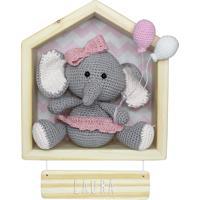 Porta Maternidade Nicho Casinha Elefante Menina Bexiga Bebê Potinho De Mel