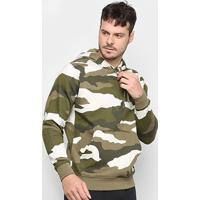 Blusão Nike Nsw Club Hoodie Camo Canguru Masculino - Masculino-Verde+Branco