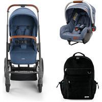 Combo Passeio - Carrinho Rover Reclinável, Bebê Conforto 0-13Kg Litet Azul E Mochila Maternidade Preta - Bb687K Multilaser