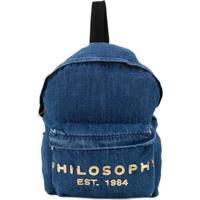Philosophy Di Lorenzo Serafini Kids Mochila Jeans Com Logo - Azul