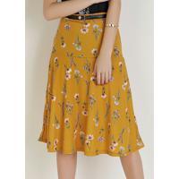 Saia Com Elástico Floral Amarela Moda Evangélica