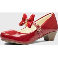 Sapato De Salto Pópidí Menina Laço Vermelho