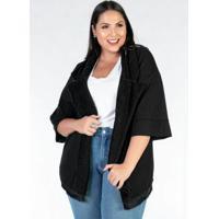 Kimono Plus Size Preto Pelo E Franja