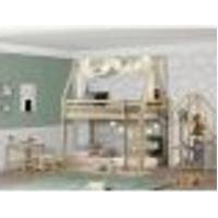 Quarto Infantil Beliche Montessoriano Telhado, Estante E Escrivaninha Casatema