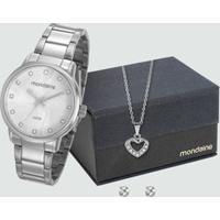 Kit Relógio Feminino Strass Mondaine 53545L0Mvne2K1