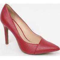 Scarpin Em Couro Texturizado- Vermelho- Salto: 9,5Cmloucos E Santos