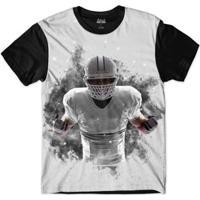 Camiseta Attack Life Futebol Americano Explosivo Sublimada Masculina - Masculino-Preto+Branco