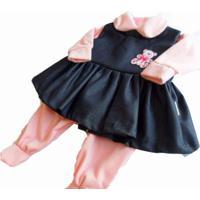 Kit I9 Baby Saída Maternidade 5 Peças Jeans Inverno Rosa
