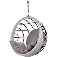 Poltrona De Balanco Bowl Em Aluminio Revestido Em Corda Cor Prata Com Suporte De Teto - 45325 - Sun House