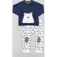 Conjunto Infantil Urso De Blusão Azul Marinho + Calça Estampada Em Moletom Off White