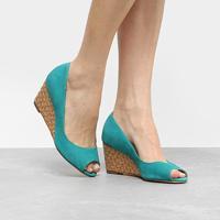 Peep Toe Couro Shoestock Rafia - Feminino
