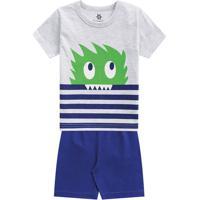 Pijama Monstro Com Listras- Cinza Claro & Azul- Kidsbrandili