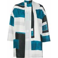 Natori Cardigan Com Estampa Geométrica - Azul