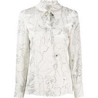L'Autre Chose Blusa De Seda Com Estampa Gráfica - Branco