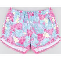 Short De Praia Infantil Estampado De Folhagem Com Pompom Pink