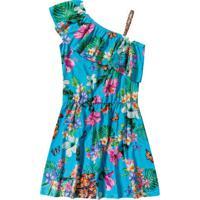 Vestido Ombro Único Floral- Azul & Rosa- Marisolmarisol