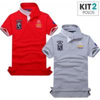 994093504 CEA  Kit 2 Camisas Polo Piquet Masculino Air Force Manga Curta - Cinza E  Vermelho