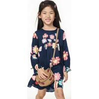 Vestido Infantil Menina Em Viscose Maquinetada Com Bordados Pucv