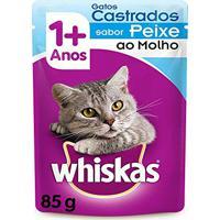 Ração Úmida Whiskas Sachê Para Gatos Castrados Sabor Peixe - Caixa 18 Unidades De 85G