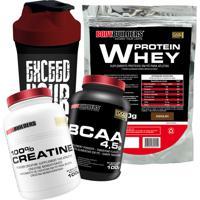 Kit Whey Protein 500G Chocolate Bcaa 4,5G 100G 100% Creatine 100G Brinde: Coqueteleira – Bodybuilders