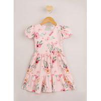 Vestido Infantil Transpassado Estampado Floral Manga Curta Rosa