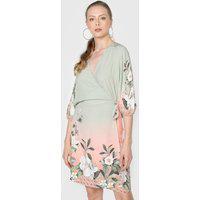Vestido Lez A Lez Curto Transpassado Floral Verde/Rosa