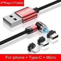 Cabo 3 Em 1 Magnético Uslion Para Samsung E Iphone Carregamento Ultra Rápido - Vermelho