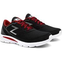Tênis Zeus Casual Caminhada Masculino - Masculino-Preto+Vermelho