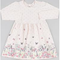 Vestido Infantil Estampado Floral Manga Longa Rosa Claro