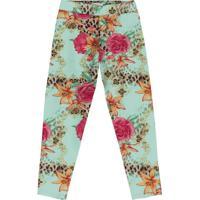 Legging Floral - Verde Claro & Rosa- Teen - Trictrick Nick