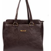 Bolsa Dalber Couro Legítimo Estruturada Handbag Divisórias Grande - Feminino-Marrom