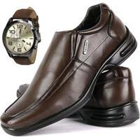Sapato Conforto Social Sapatofran Com Relógio Masculino - Masculino-Marrom