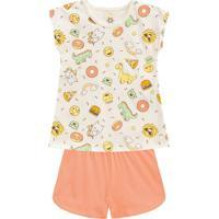 Pijama Dinossauros- Off White & Laranja Claro- Kids