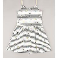 Vestido Infantil Listrado Tropical Com Laço E Lurex Alças Finas Off White
