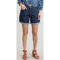 Bermuda Jeans Feminina Midi Barra Dobrada Azul Escuro