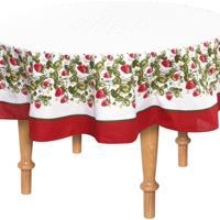Toalha De Mesa Karsten Redonda Cada Dia Frutilha 160Cm Branca/Vermelha